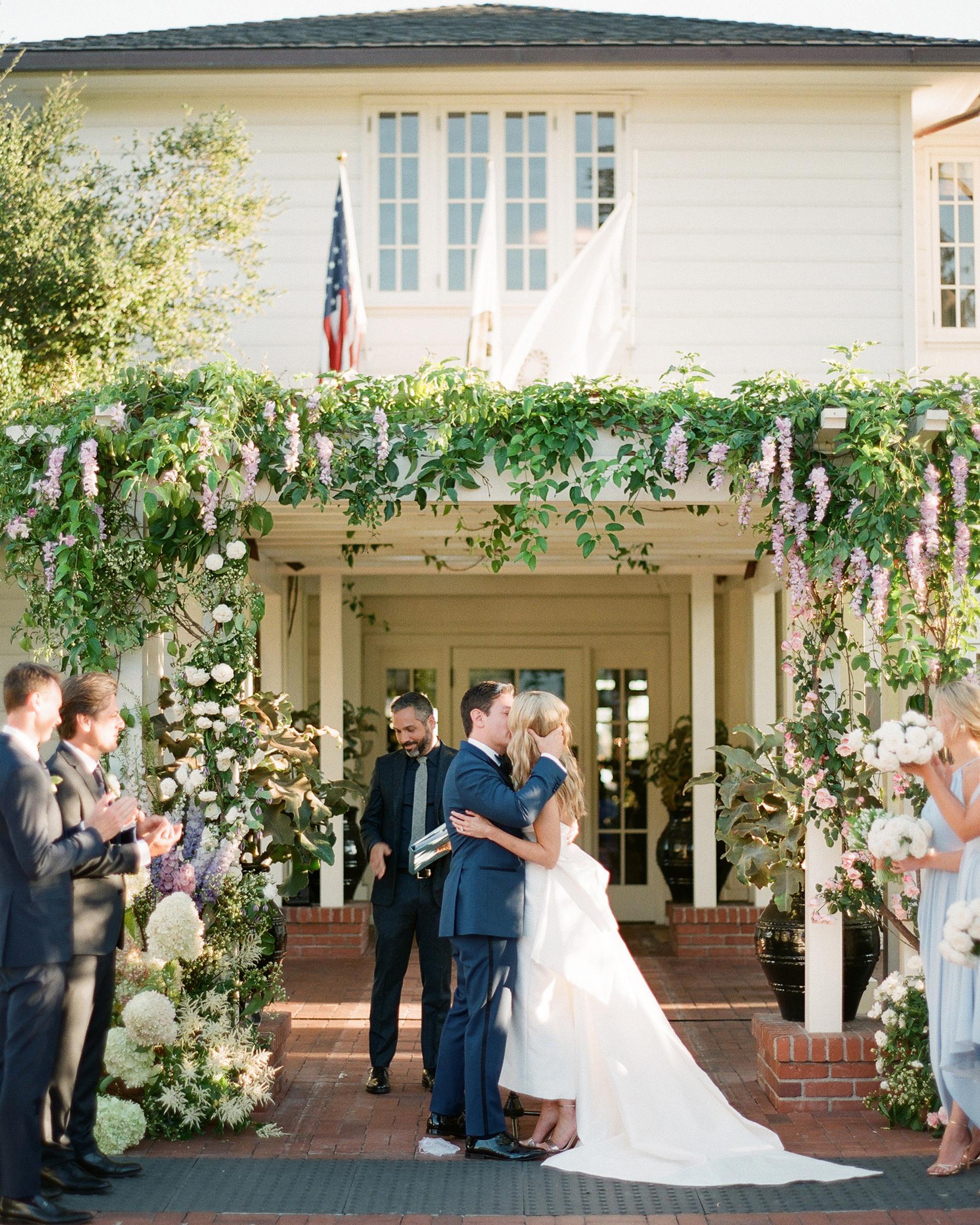 katy michael wedding ceremony kiss