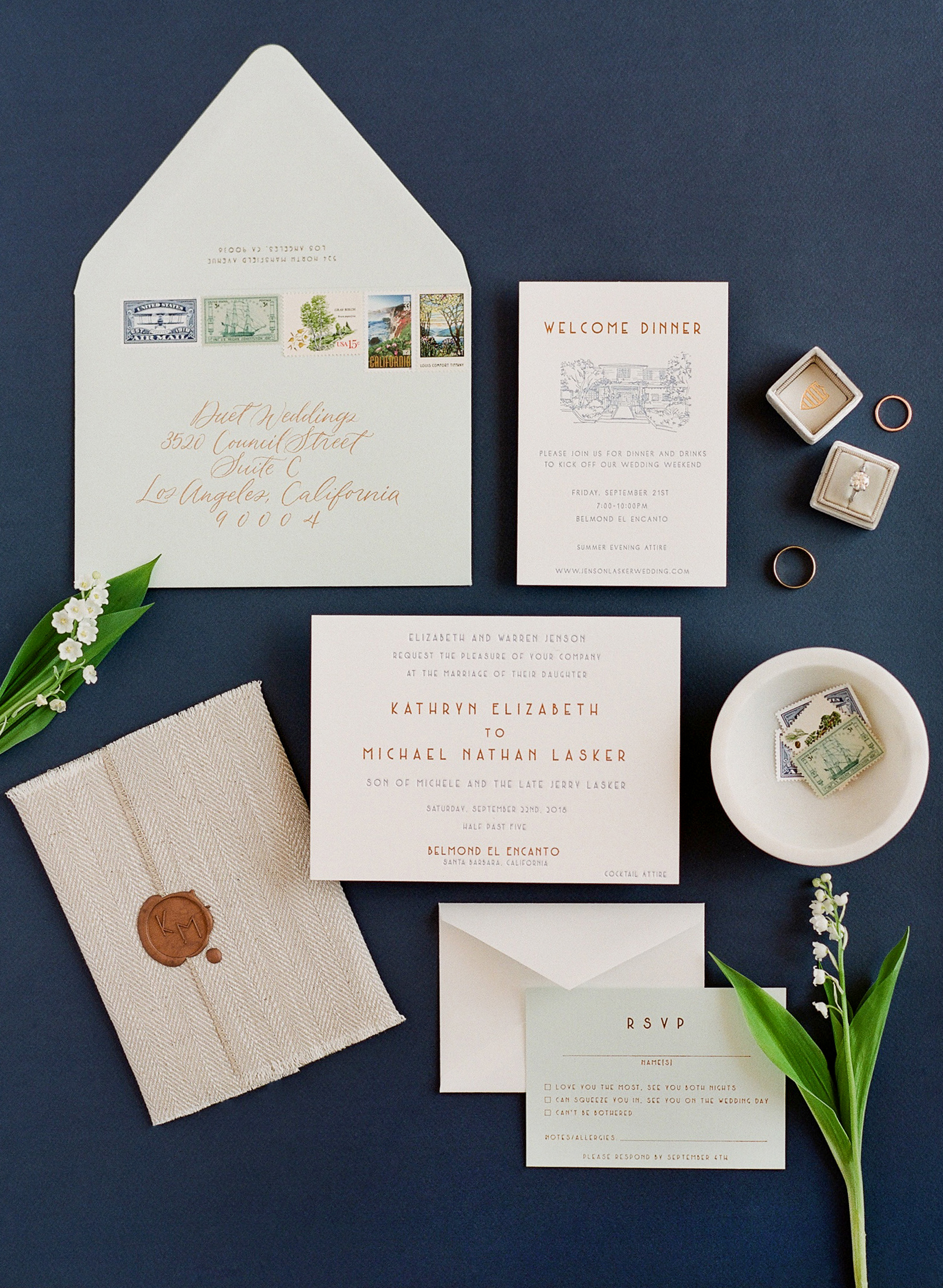 katy michael wedding invitation suite