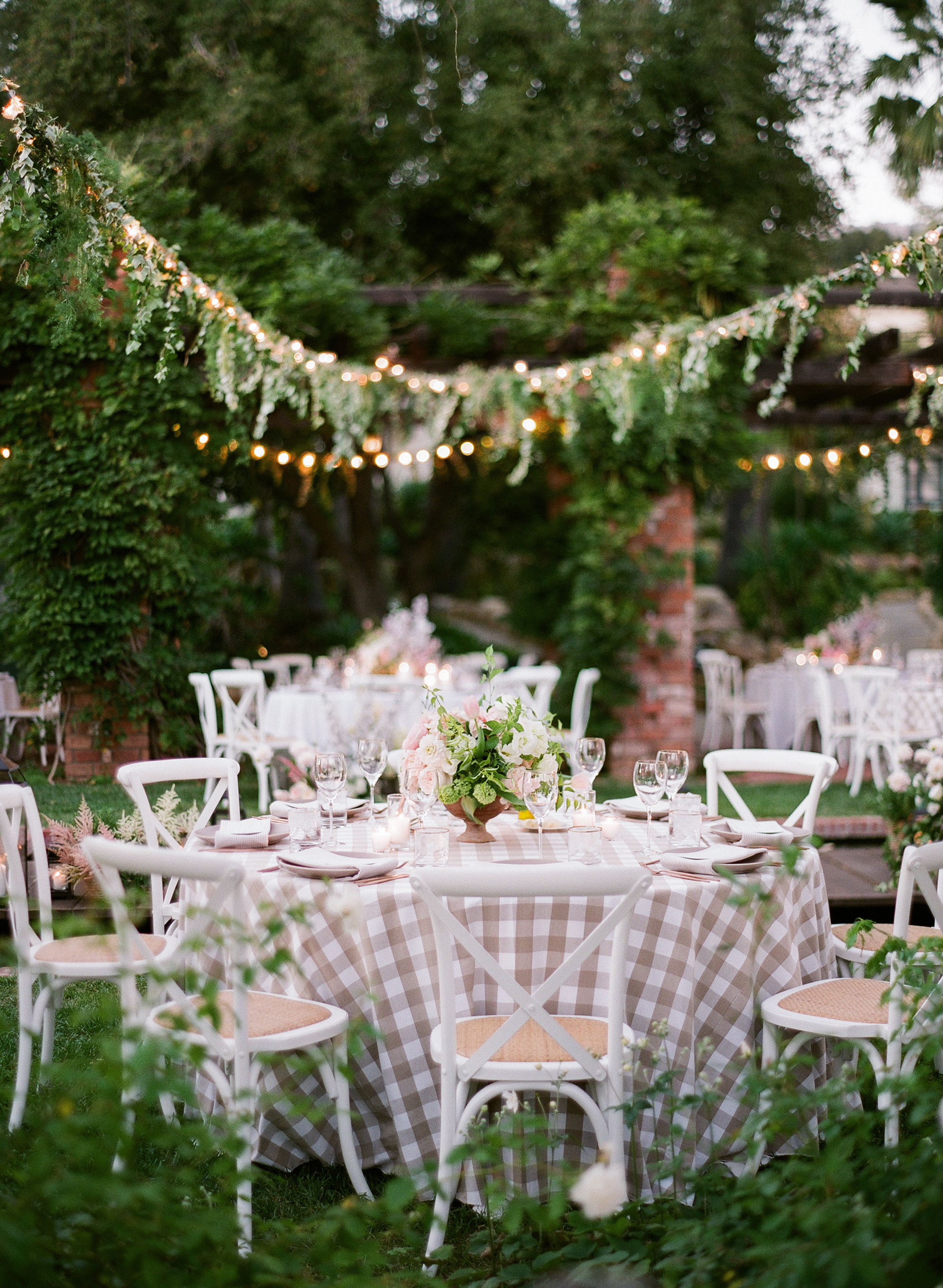 katy michael wedding reception table gingham linens