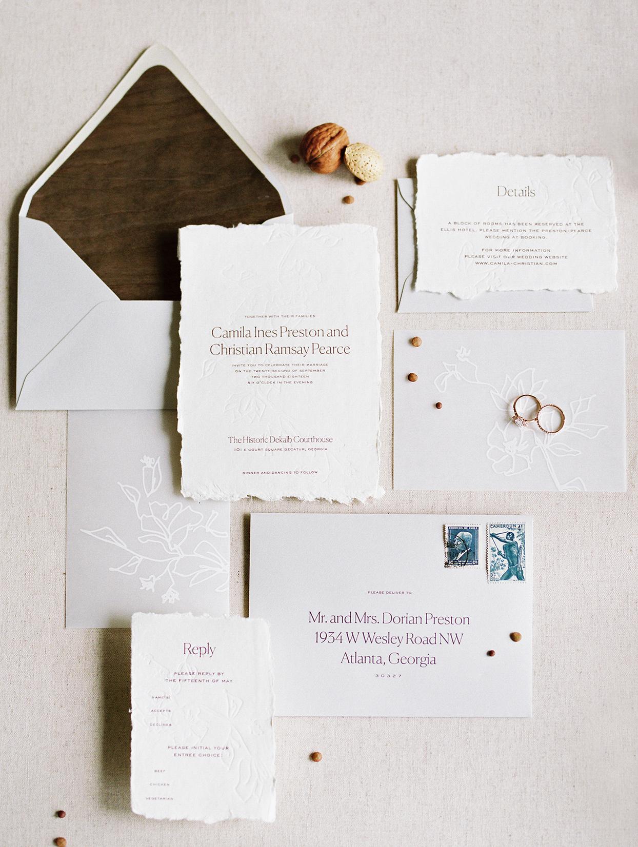 simple rustic wedding invitations with wood grain envelope lining
