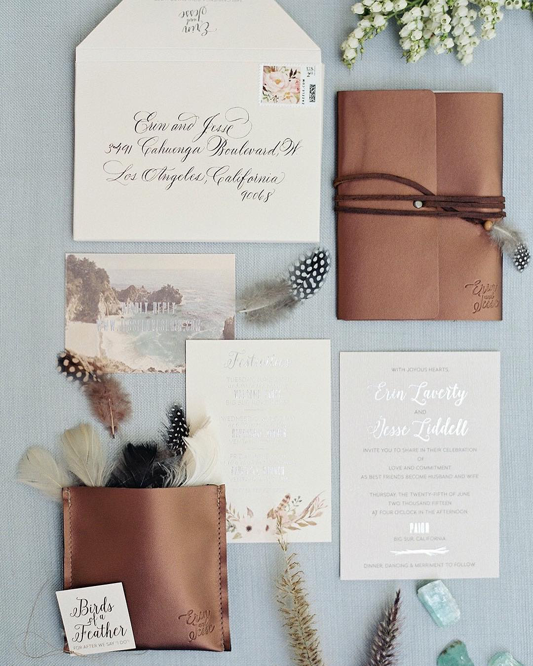 rustic wedding invitations with feathers