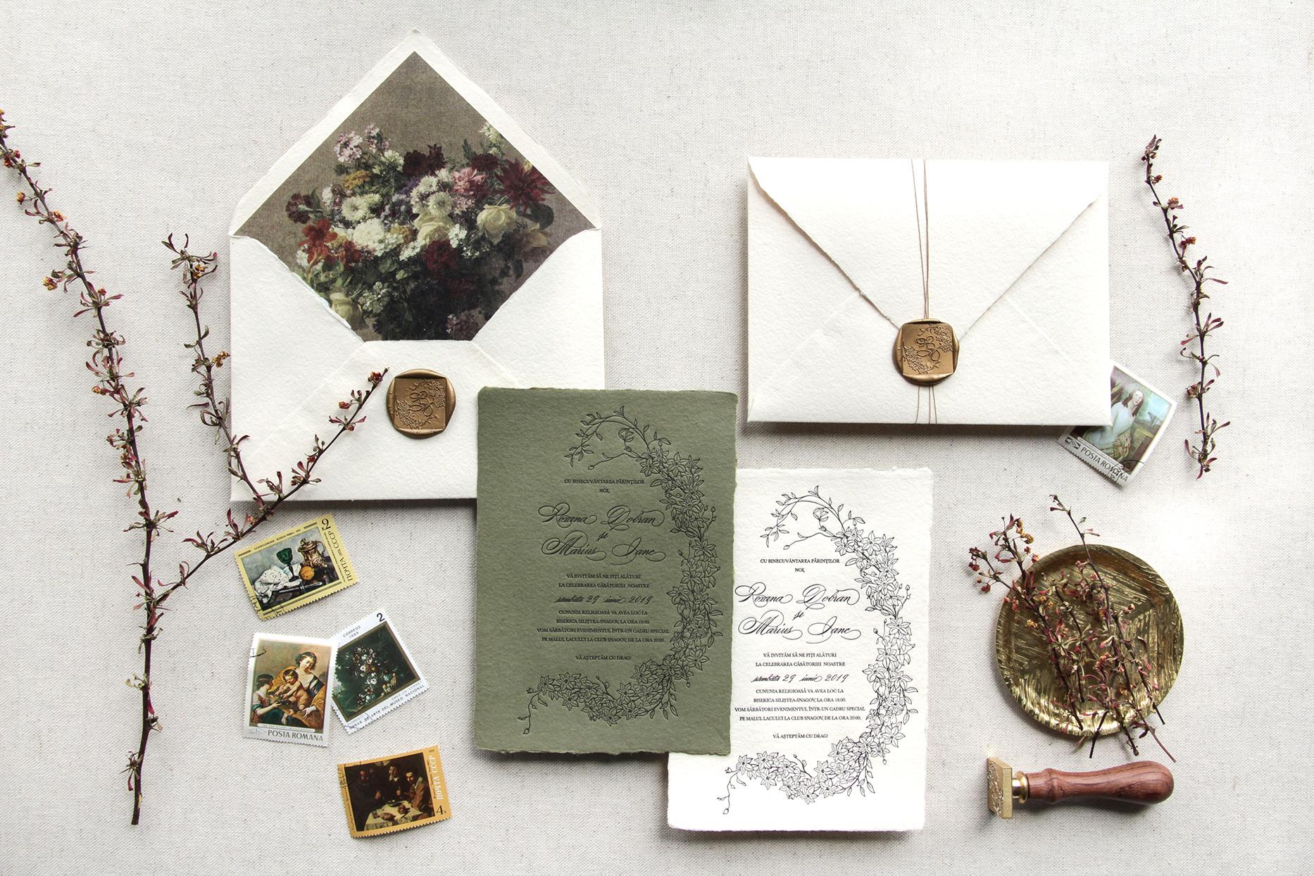 woodsy evergreen rustic wedding invitations