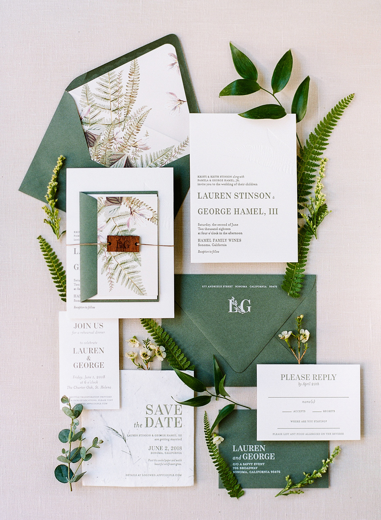 deep green and white rustic wedding invitations