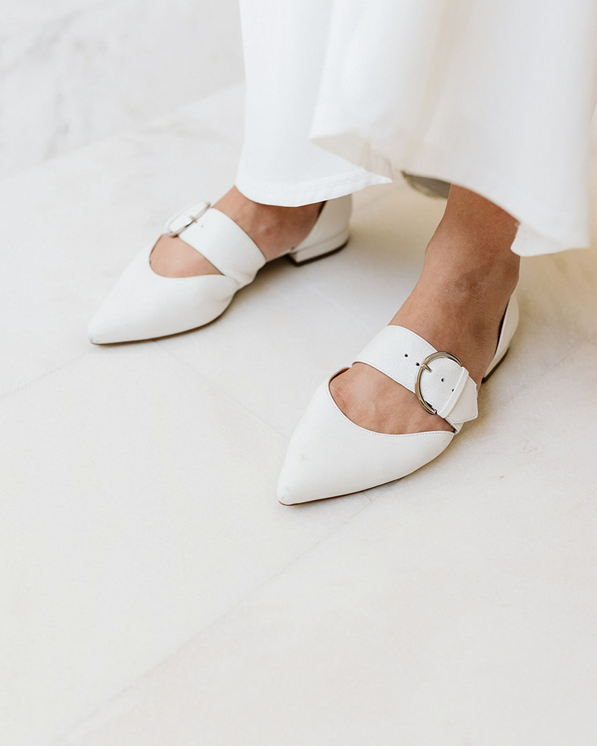 brides white flat wedding shoes belt clip