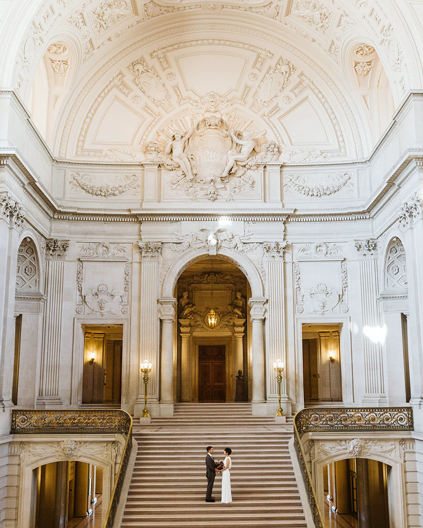city hall wedding location bride groom stairway