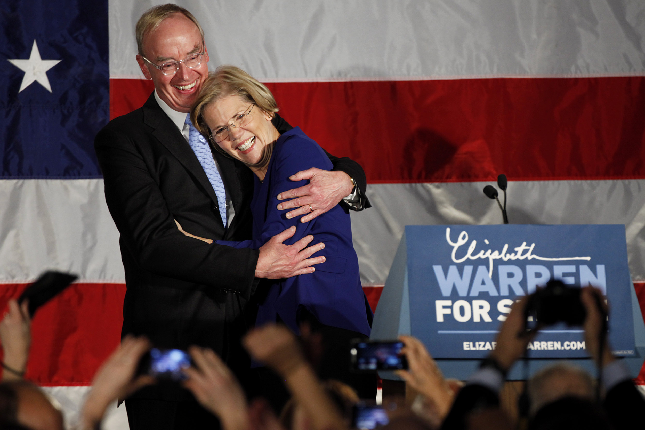 Elizabeth Warren and Bruce Mann at campaign rally