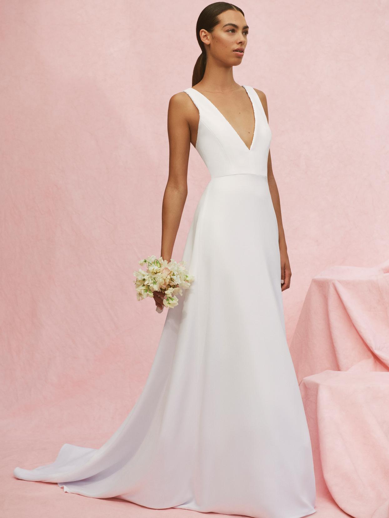 carolina herrera v-neck a-line gown wedding dress fall 2020