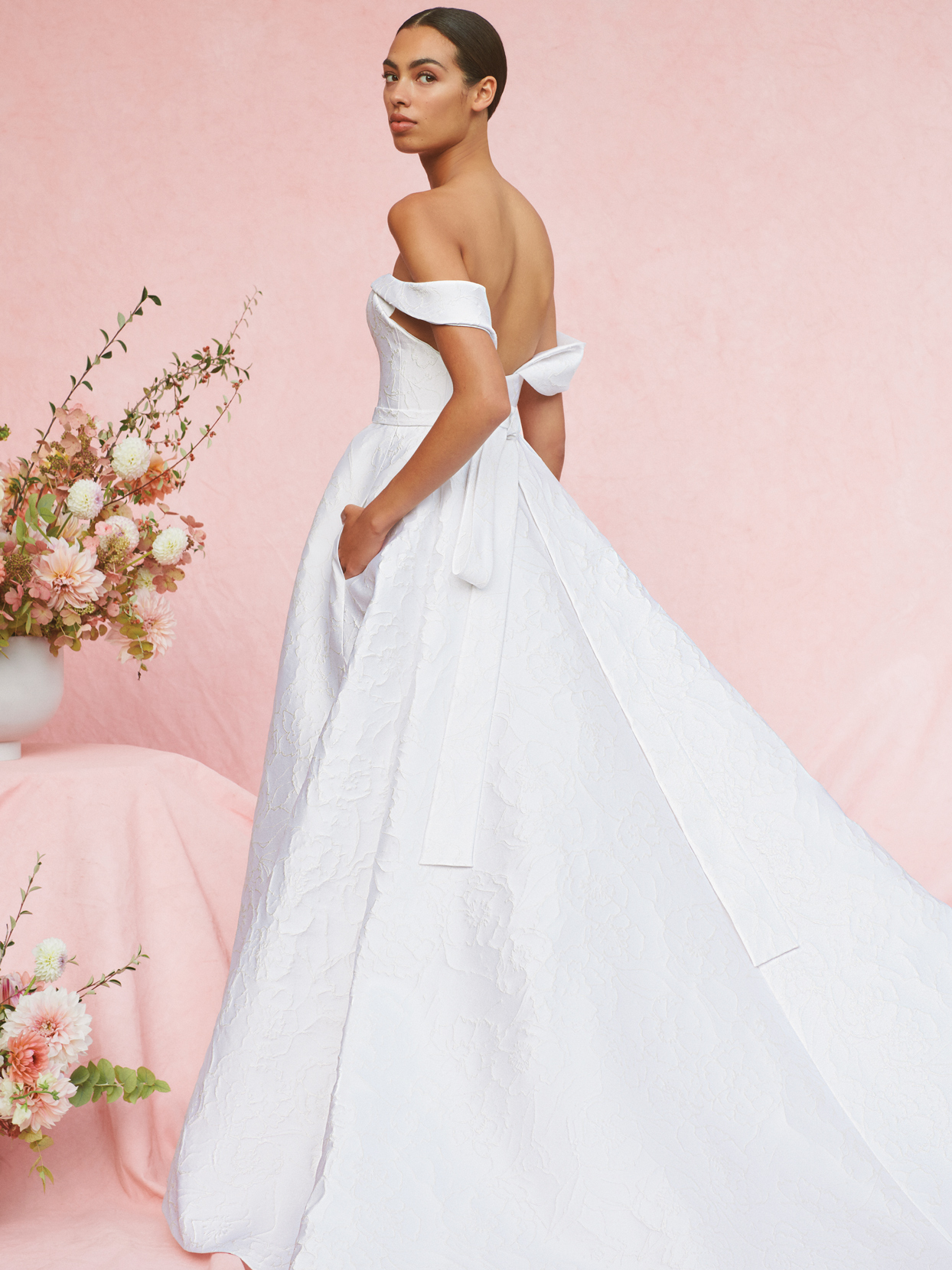 carolina herrera draped off-shoulder a-line wedding dress fall 2020