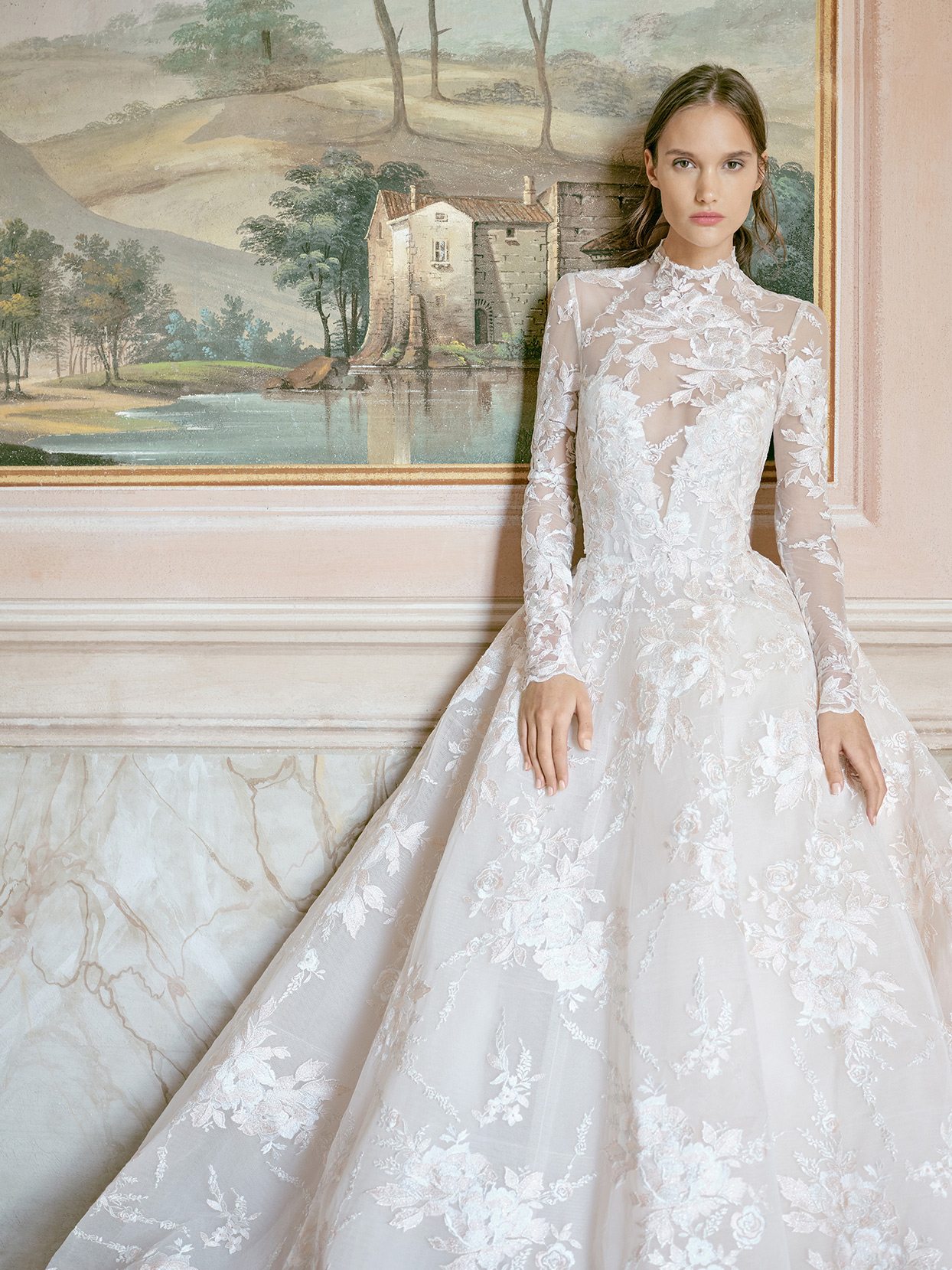 monique lhuillier illusion high neck floral overlay wedding dress fall 2020