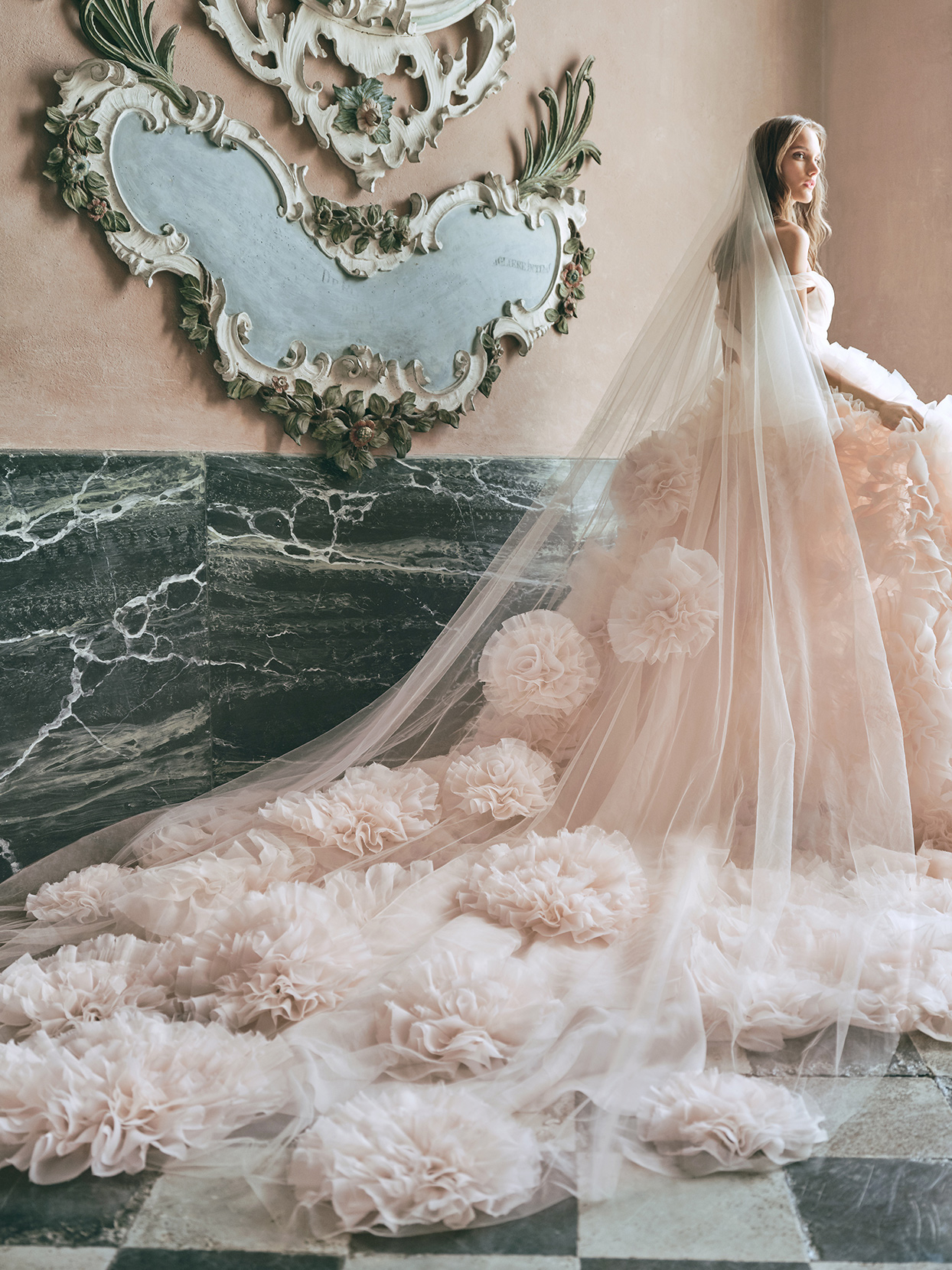 monique lhuillier pink tulle ball gown wedding dress fall 2020