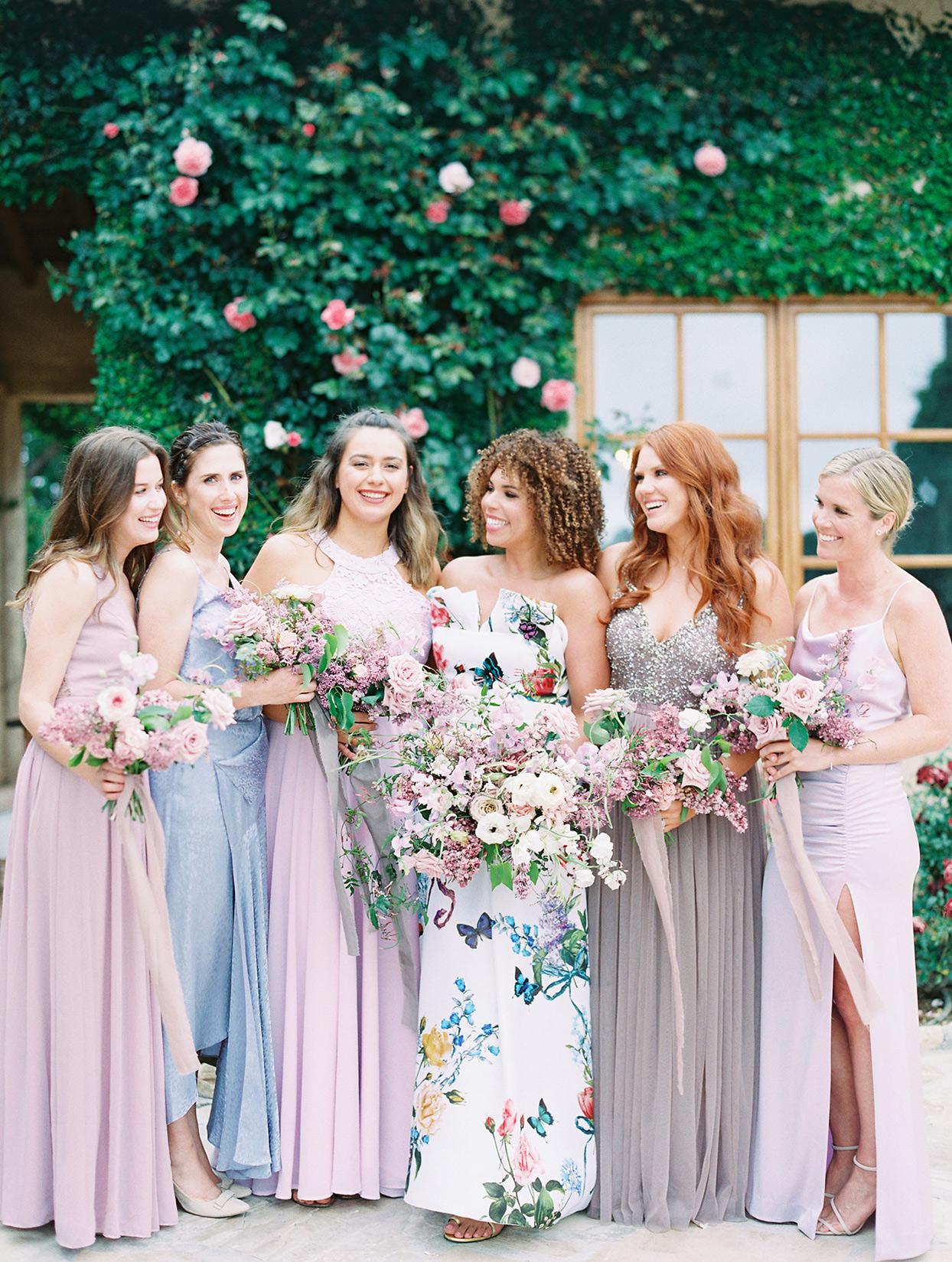raina salih bridesmaids in pastel blue and lavender