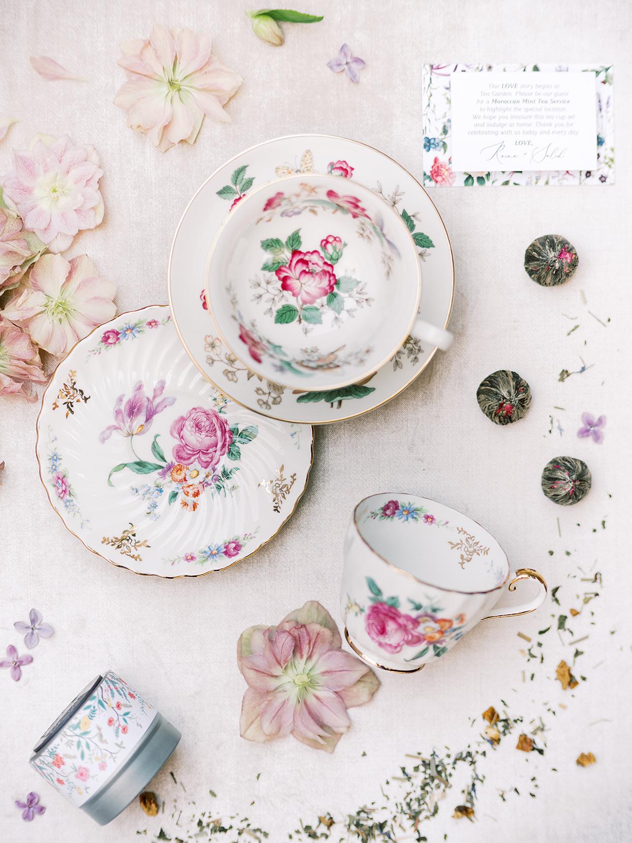 raina salih wedding favors fine china plates and cups