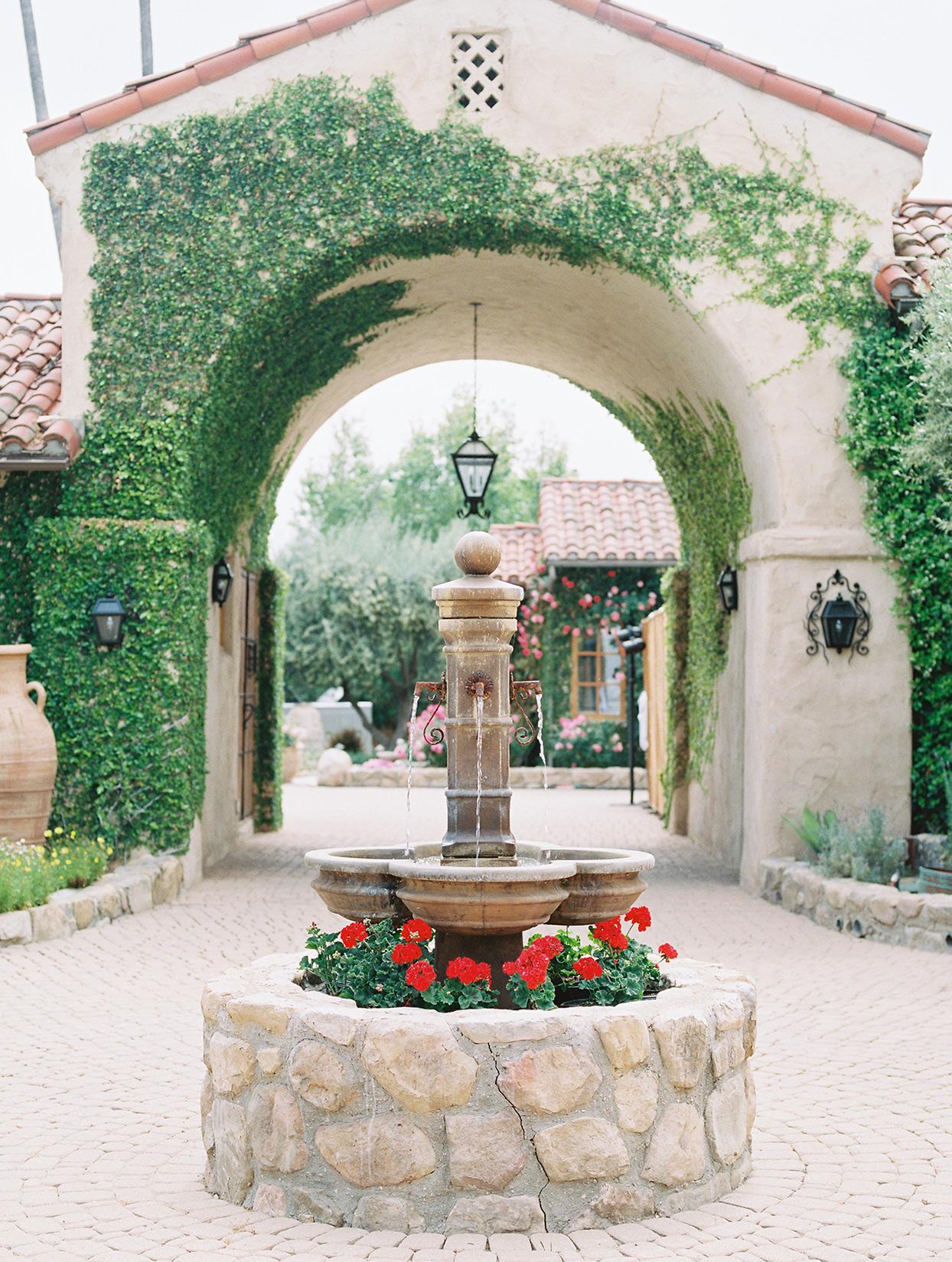 raina salih wedding courtyard fountain