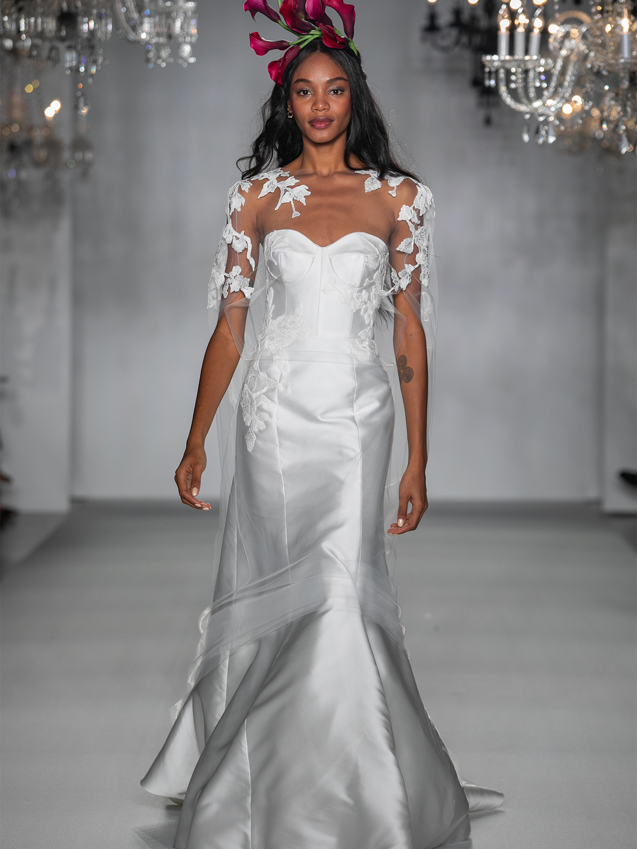 anne barge sweet heart transparent cape wedding dress fall 2020