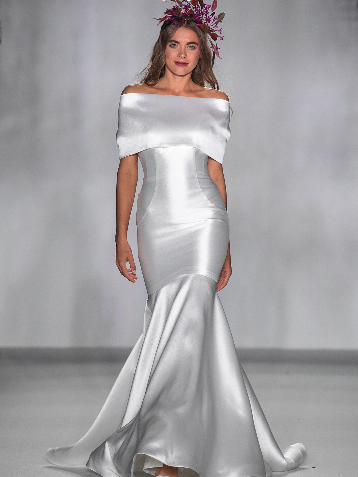 anne barge off the shoulder mermaid wedding dress fall 2020