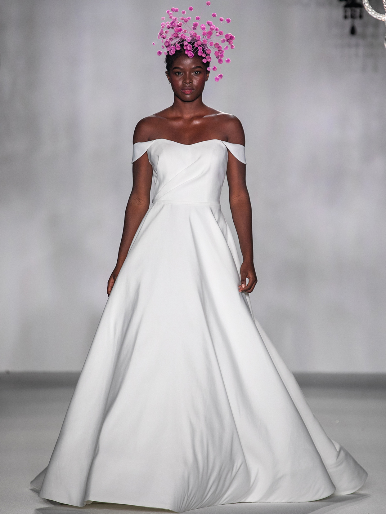 anne barge off the shoulder a line wedding dress fall 2020