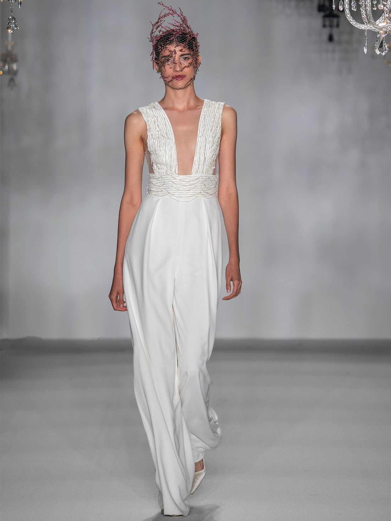 anne barge plunging neck pants suit wedding dress fall 2020