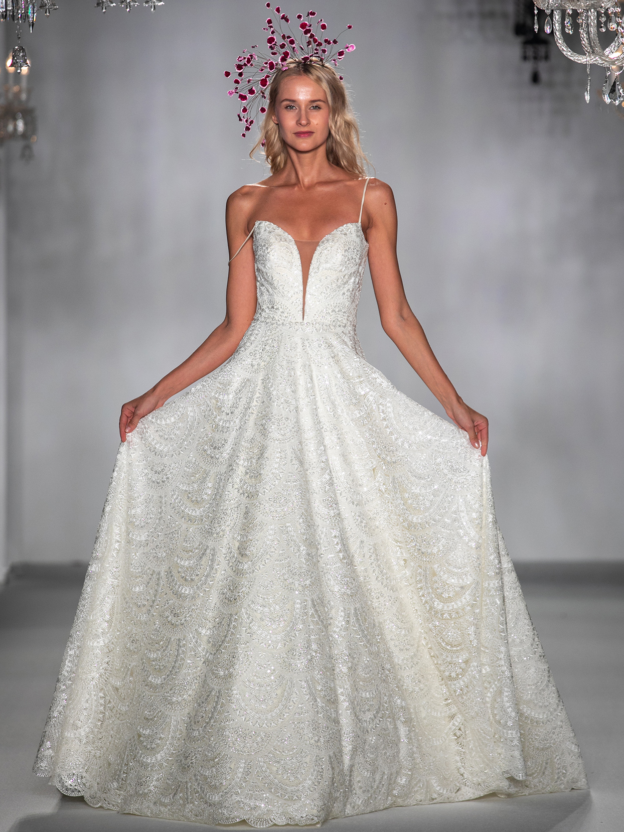 anne barge spaghetti strap lace brocade wedding dress fall 2020