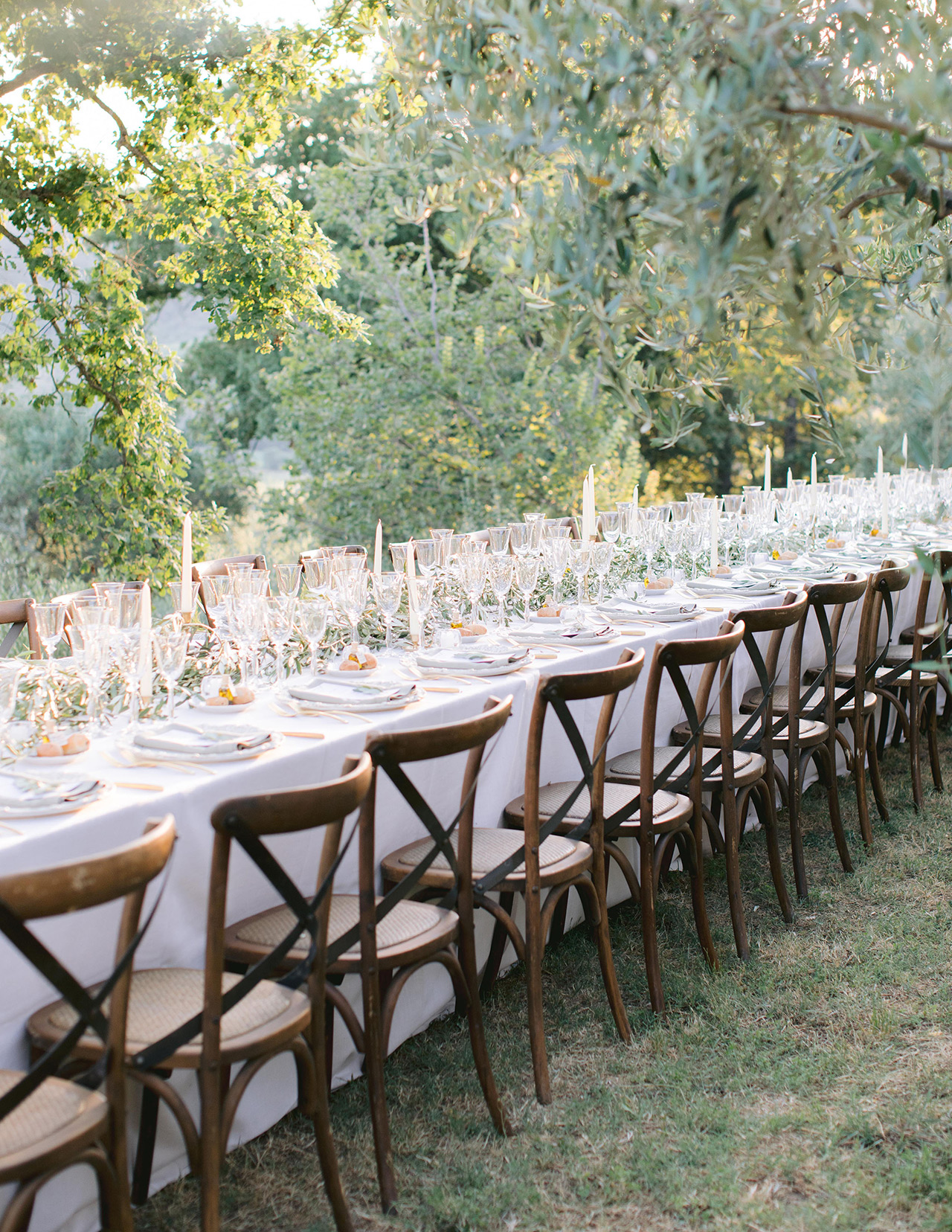outdoor wedding reception simple organic olive branches