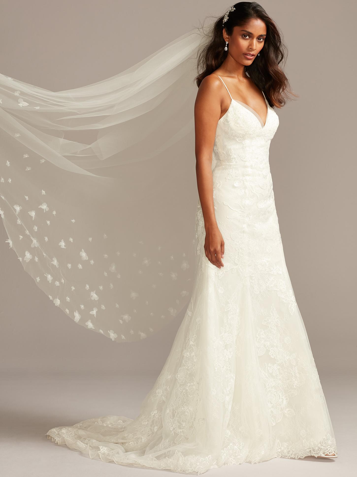 davids bridal deep v-neck spaghetti strap train wedding dress fall 2020