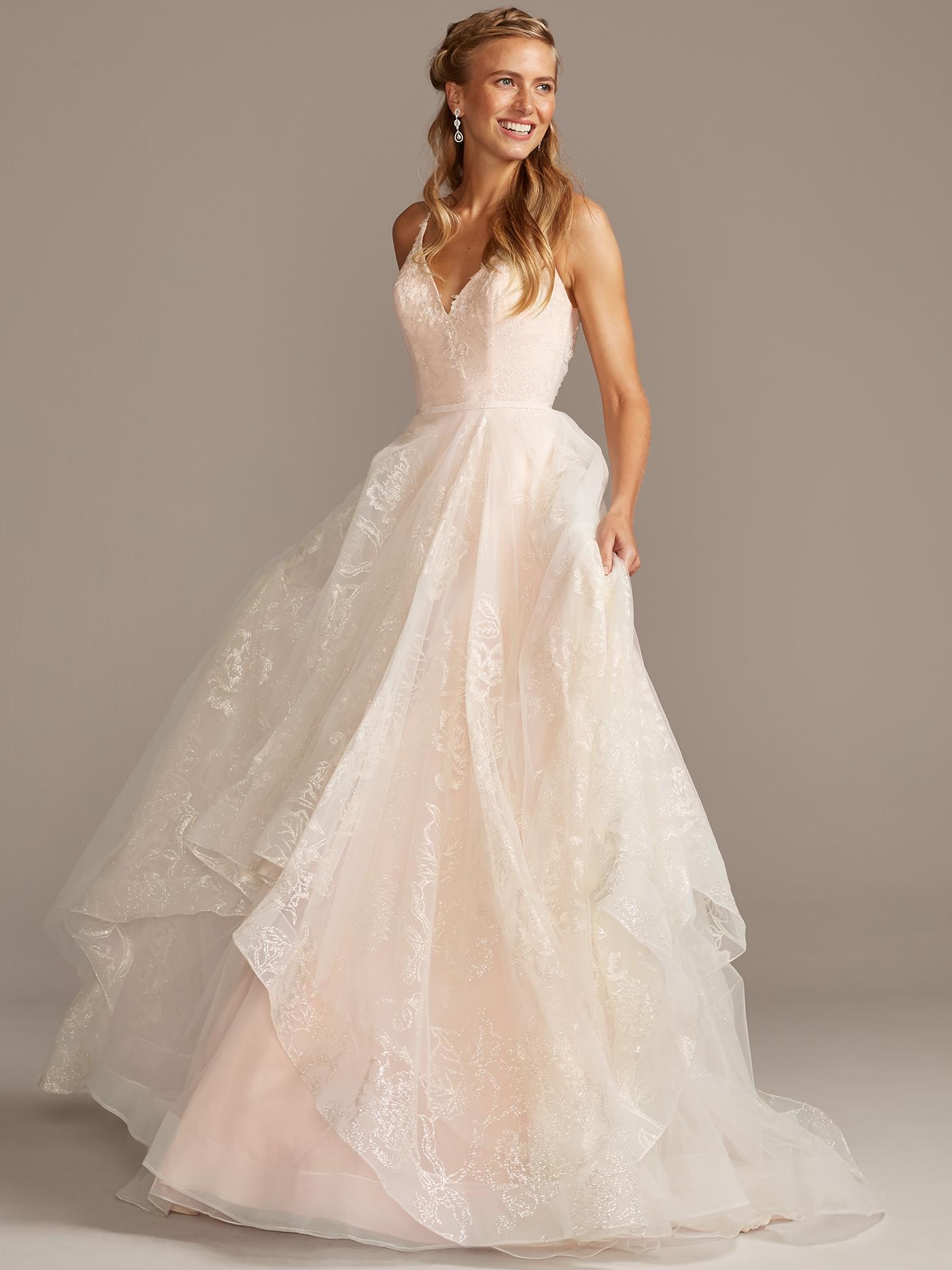 davids bridal ball gown v-neck wedding dress fall 2020