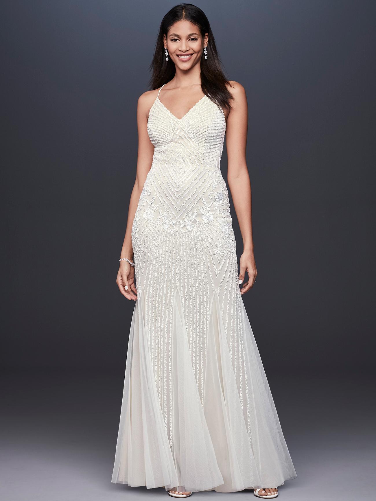 davids bridal db studio beaded v-neck wedding dress fall 2020