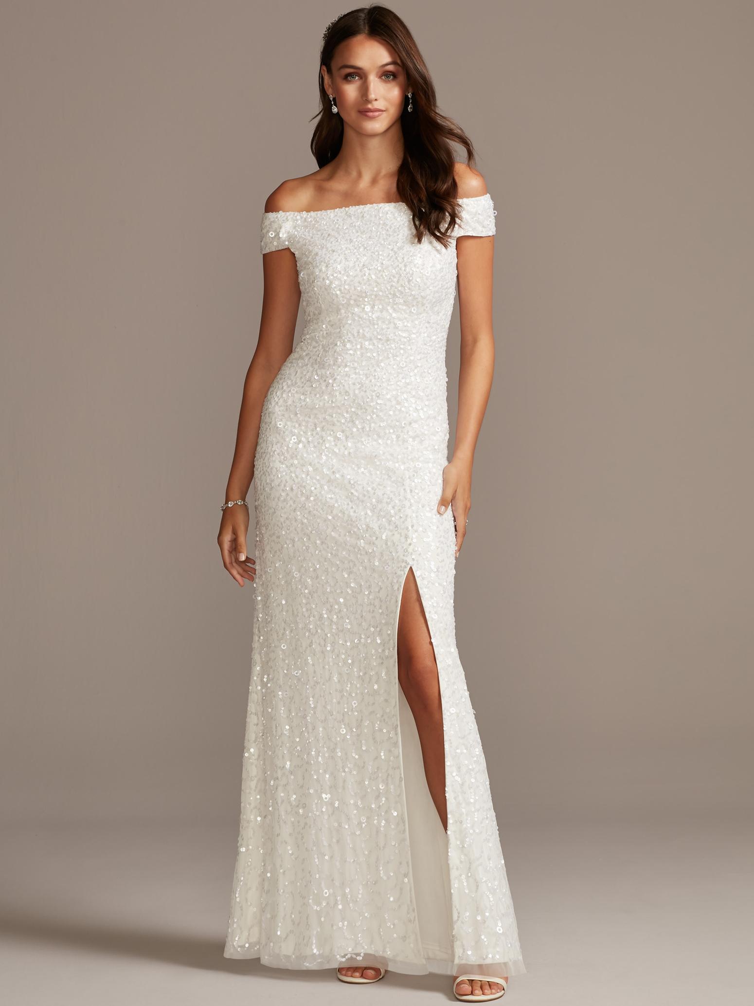 davids bridal db studio off the shoulder sequin side slit wedding dress fall 2020