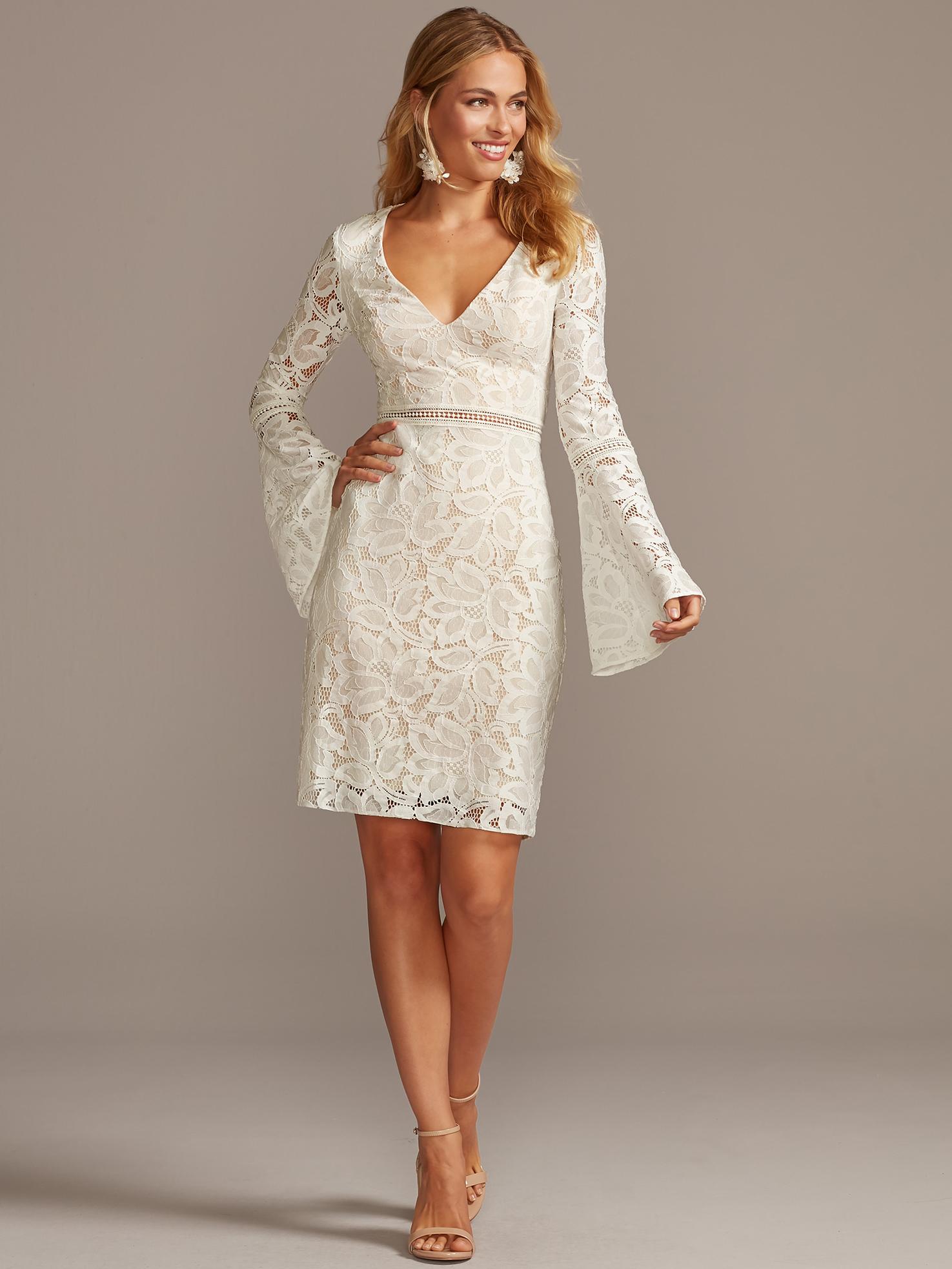 davids bridal db studio long bell sleeve embroidered lace knee length wedding dress fall 2020