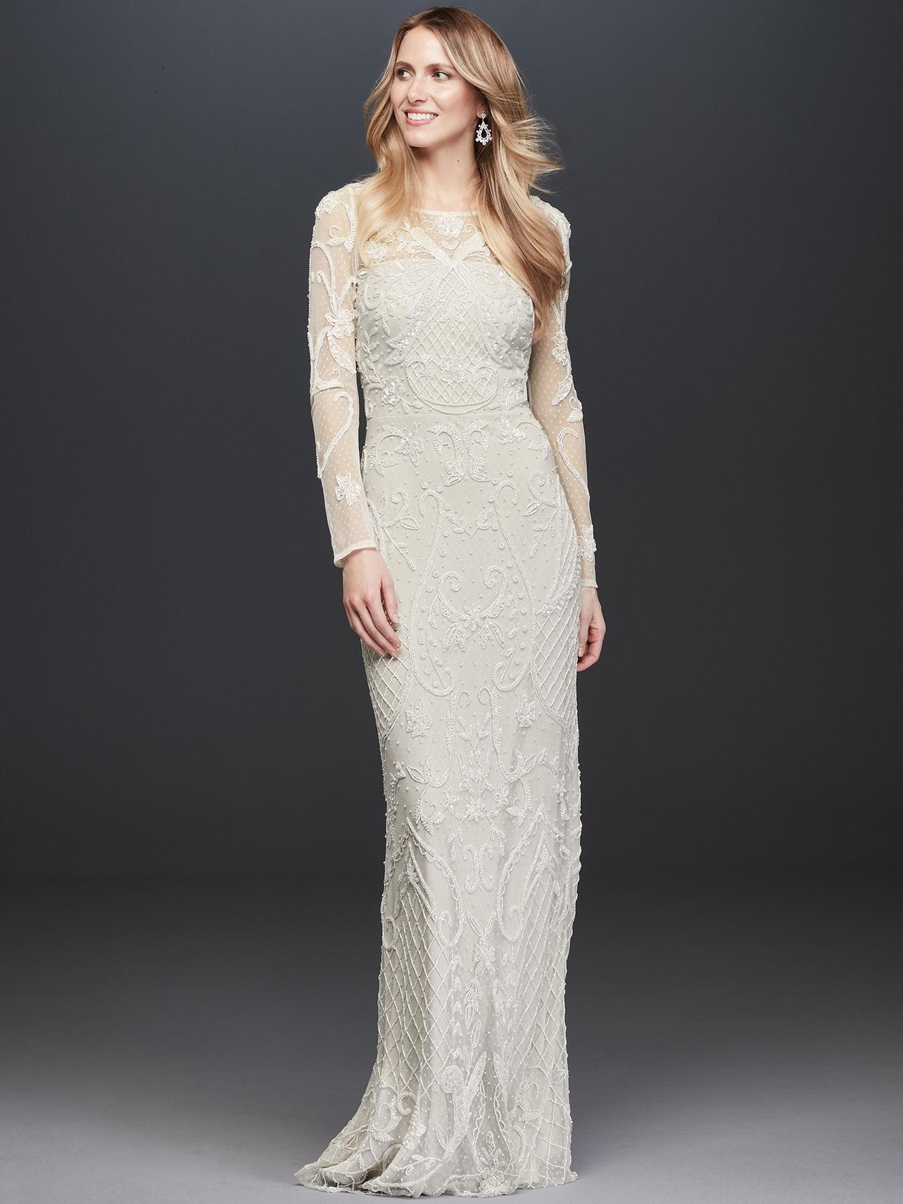 davids bridal db studio sheer lace long sleeve wedding dress fall 2020