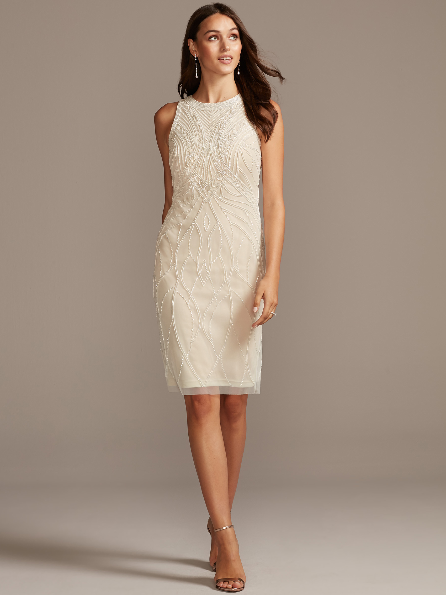 davids bridal db studio knee length high neck wedding dress fall 2020