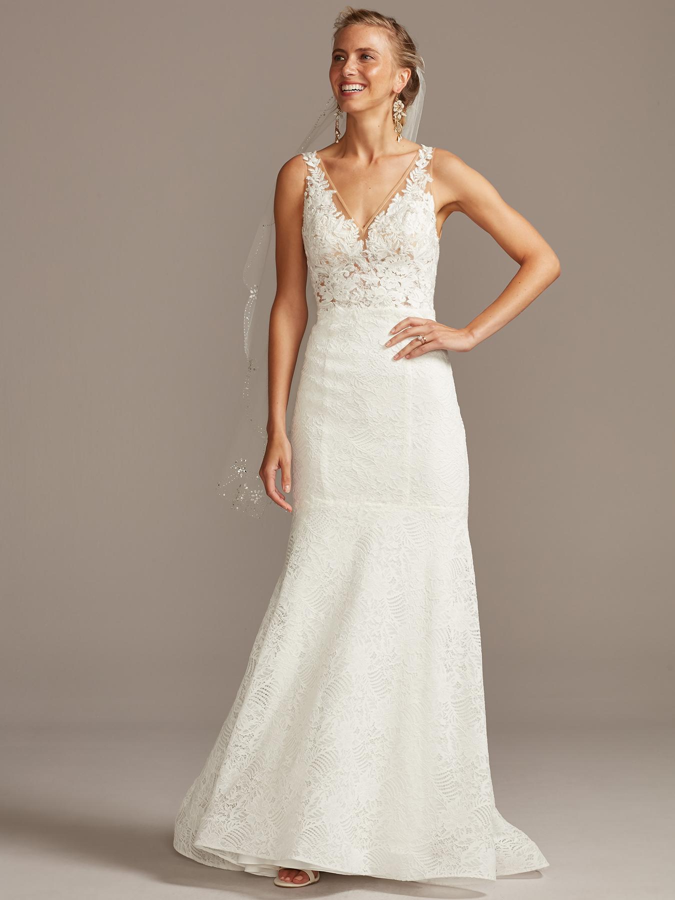 davids bridal melissa sweet v-neck lace trumpet wedding dress fall 2020