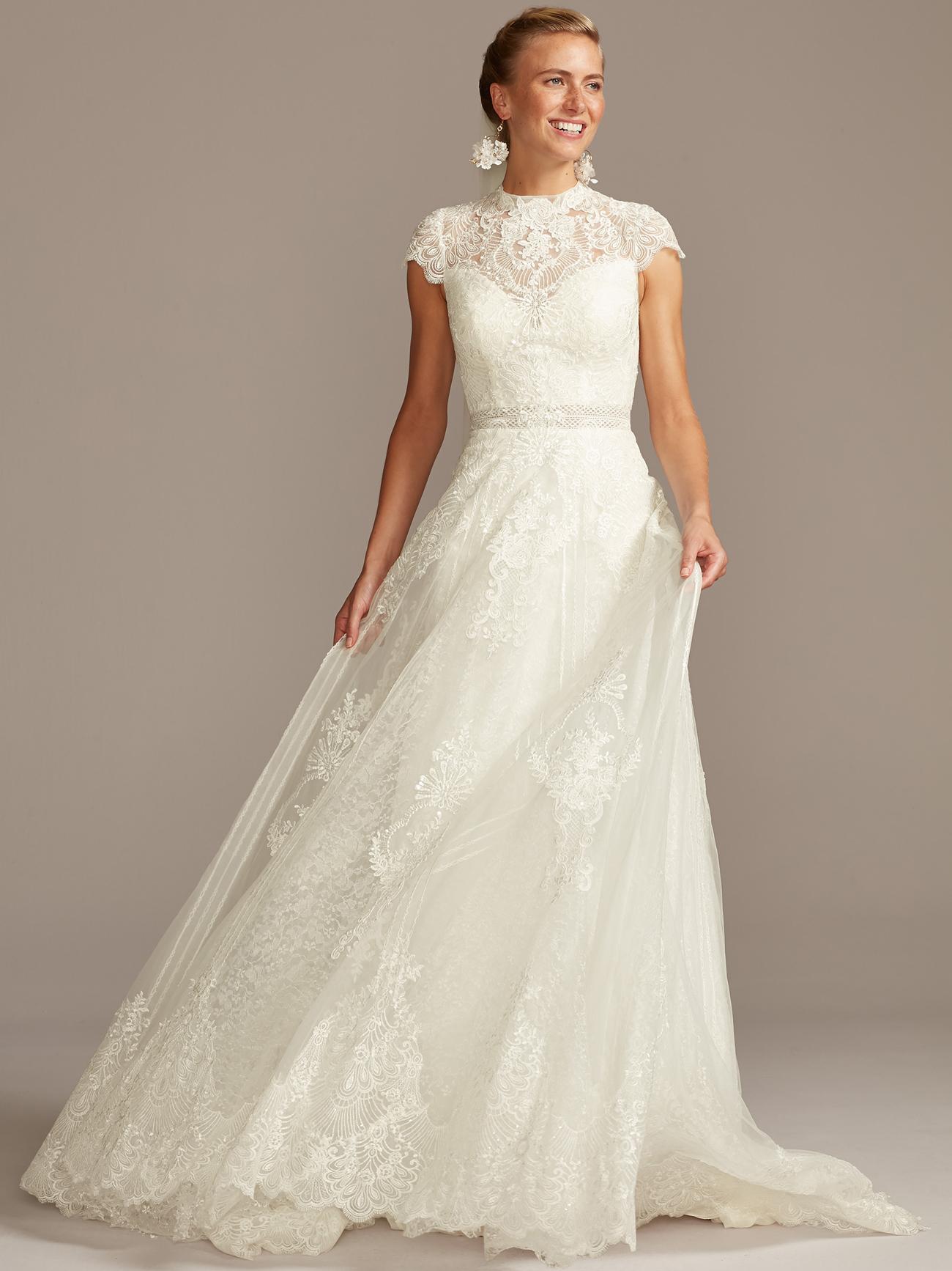 davids bridal melissa sweet high neck cap sleeve lace wedding dress fall 2020
