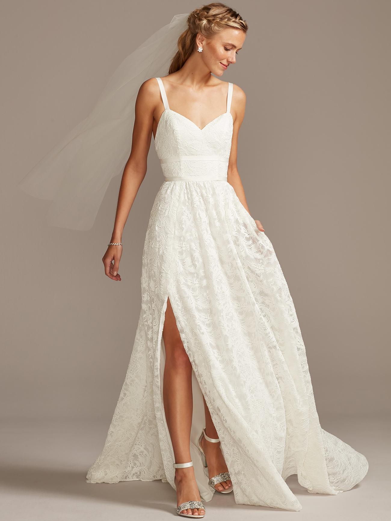 davids bridal melissa sweet side slit spaghetti strap wedding dress fall 2020