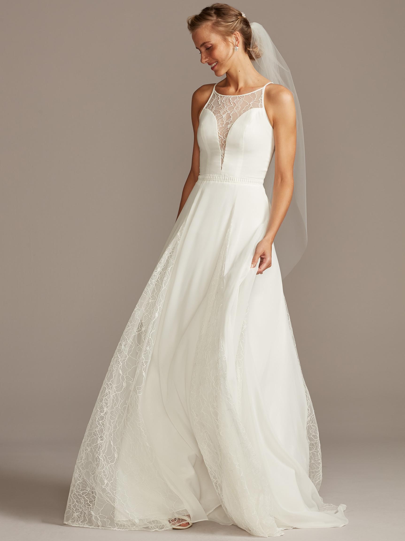 davids bridal melissa sweet deep v, illusion cowl neck wedding dress fall 2020