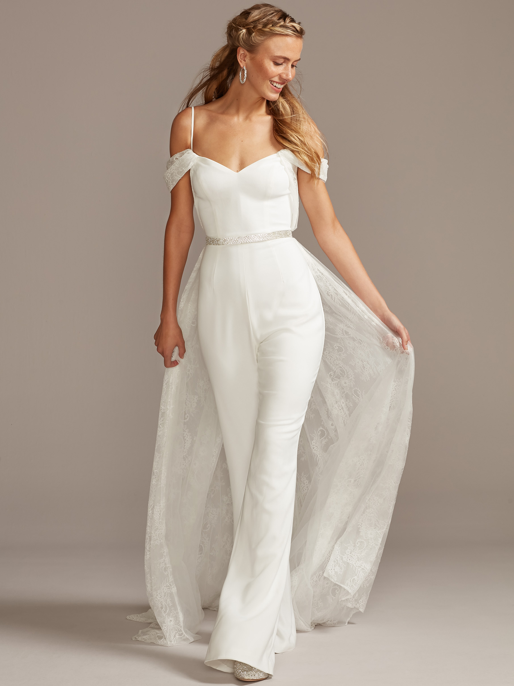 davids bridal melissa sweet off-the-shoulder wedding dress jumpsuit fall 2020