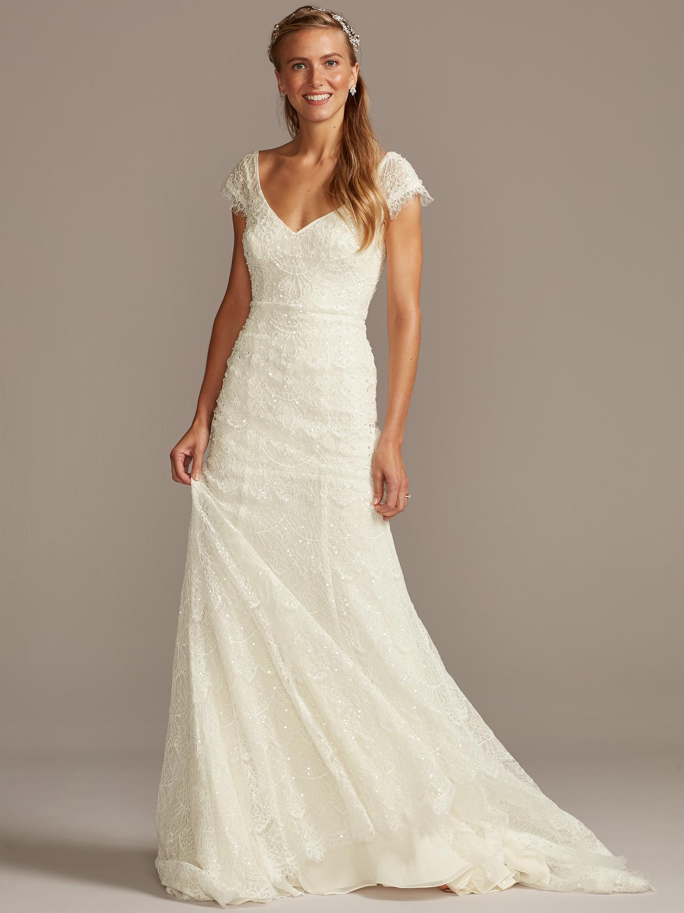 davids bridal melissa sweet cap sleeve, v-neck wedding dress fall 2020