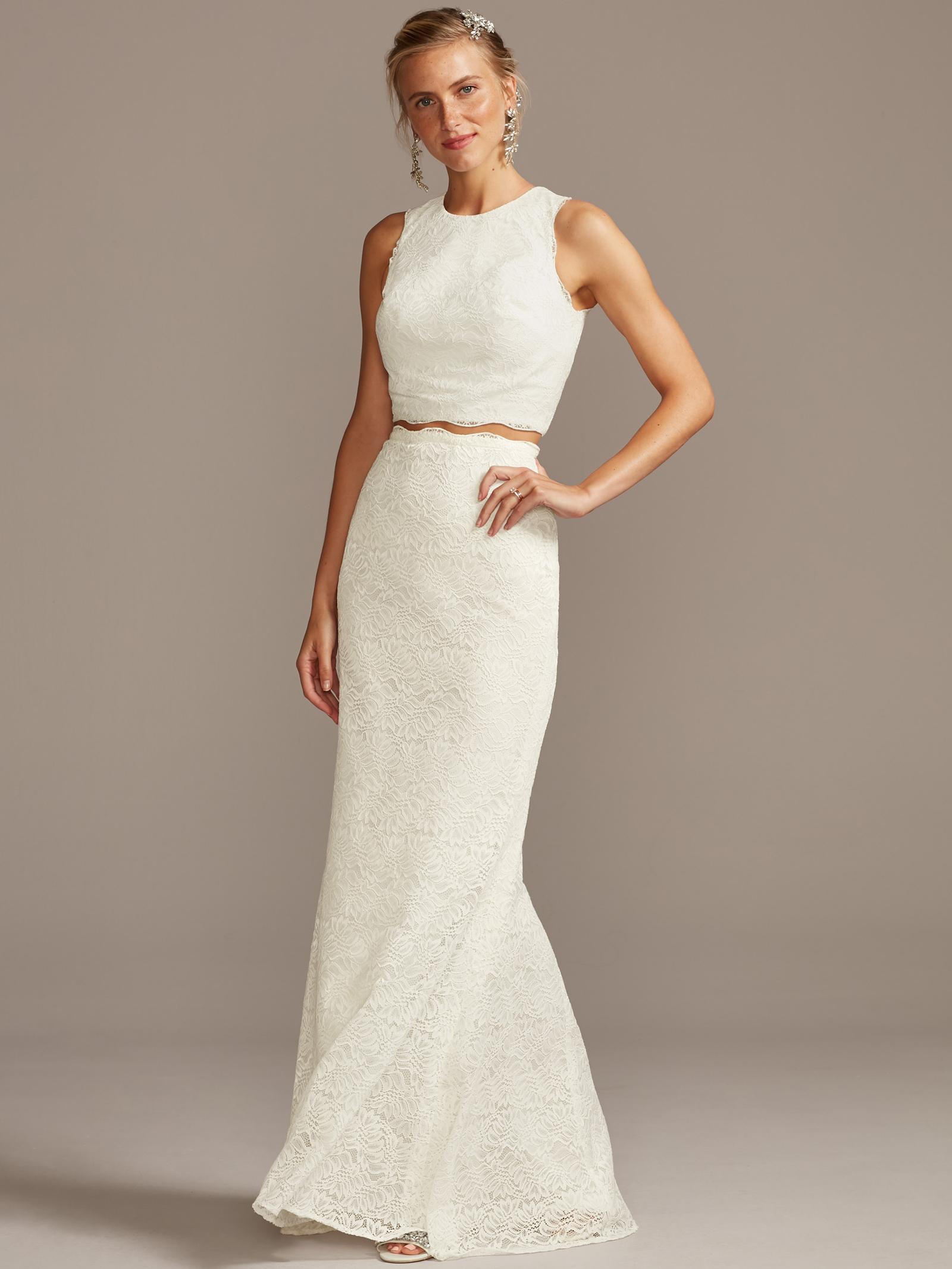 davids bridal melissa sweet two piece lace wedding dress fall 2020