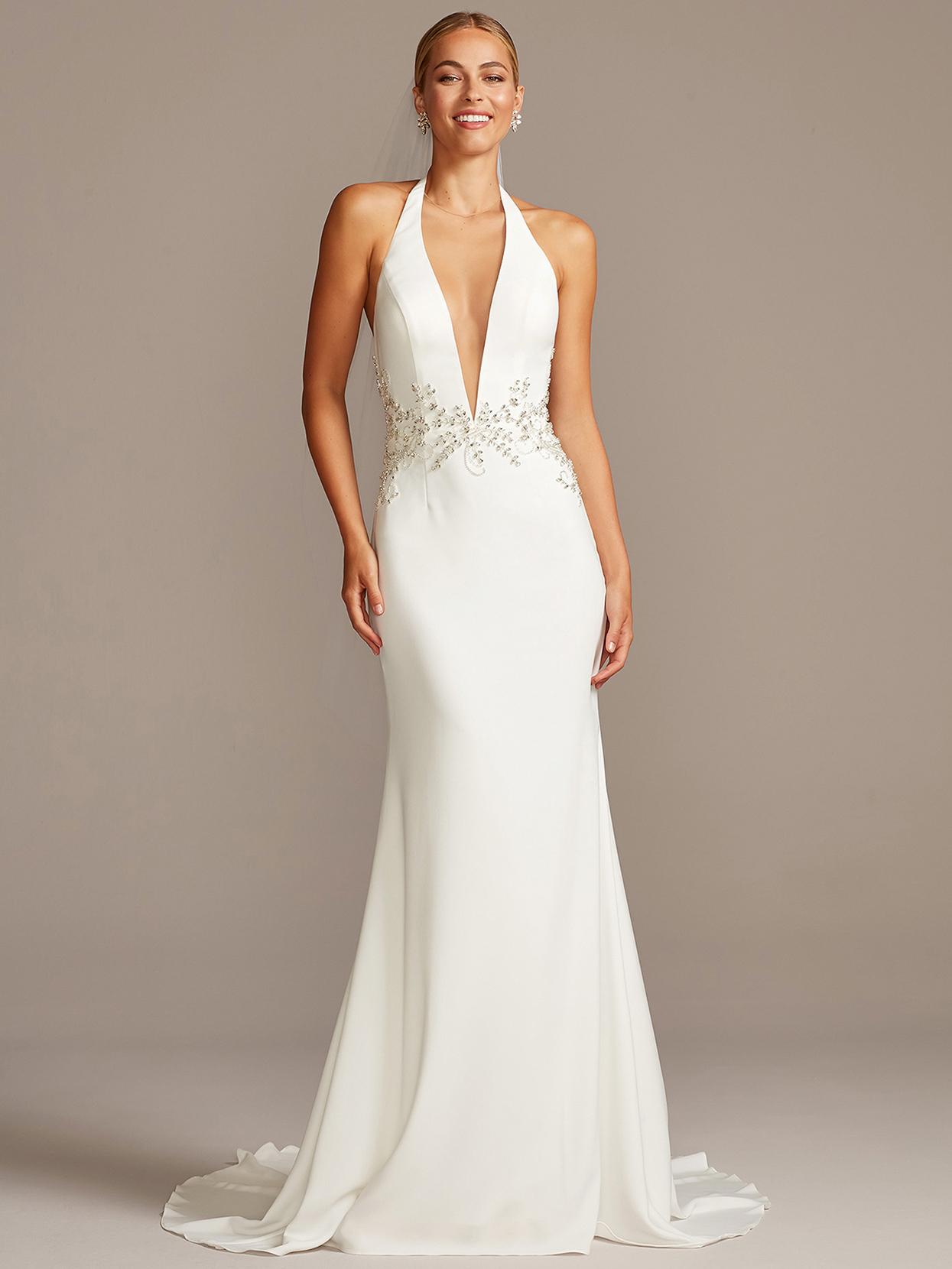 davids bridal galina plunging halter sheath wedding dress fall 2020