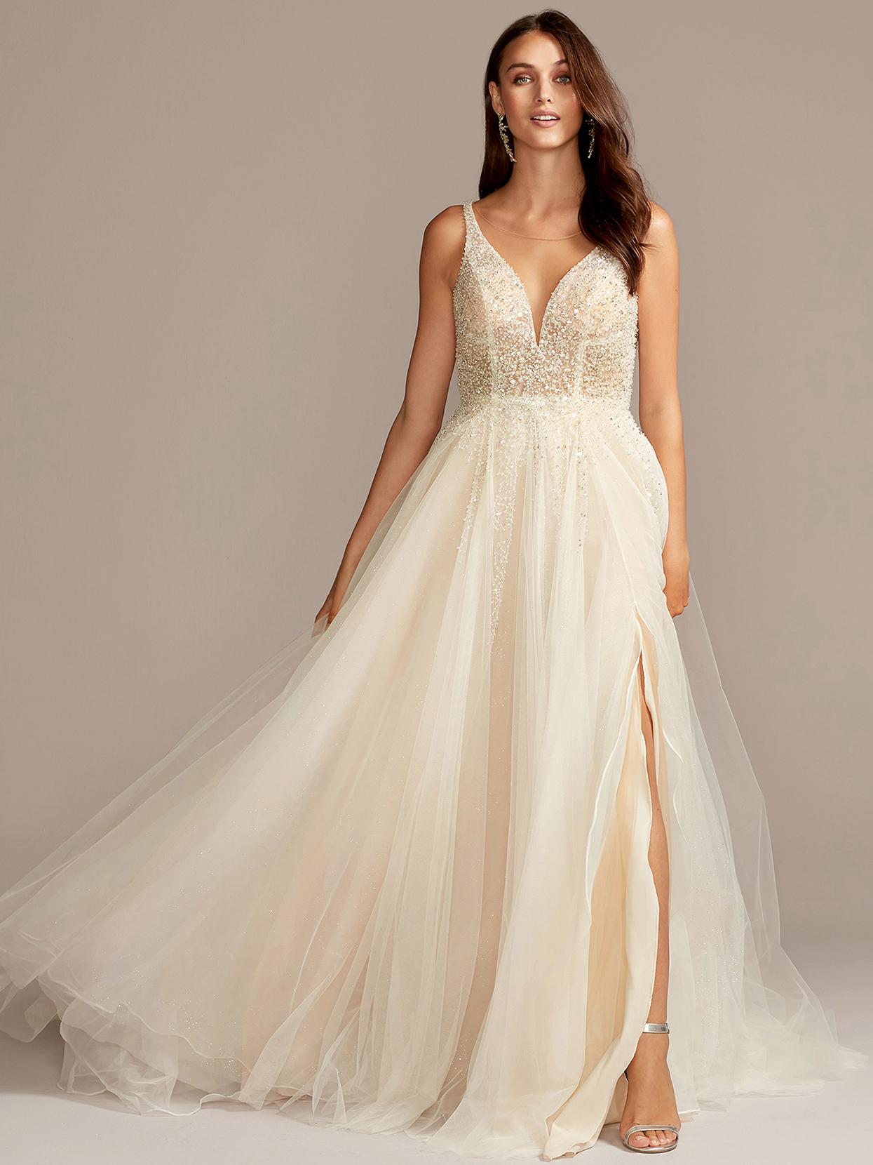 davids bridal galina champagne embellished a-line wedding dress fall 2020