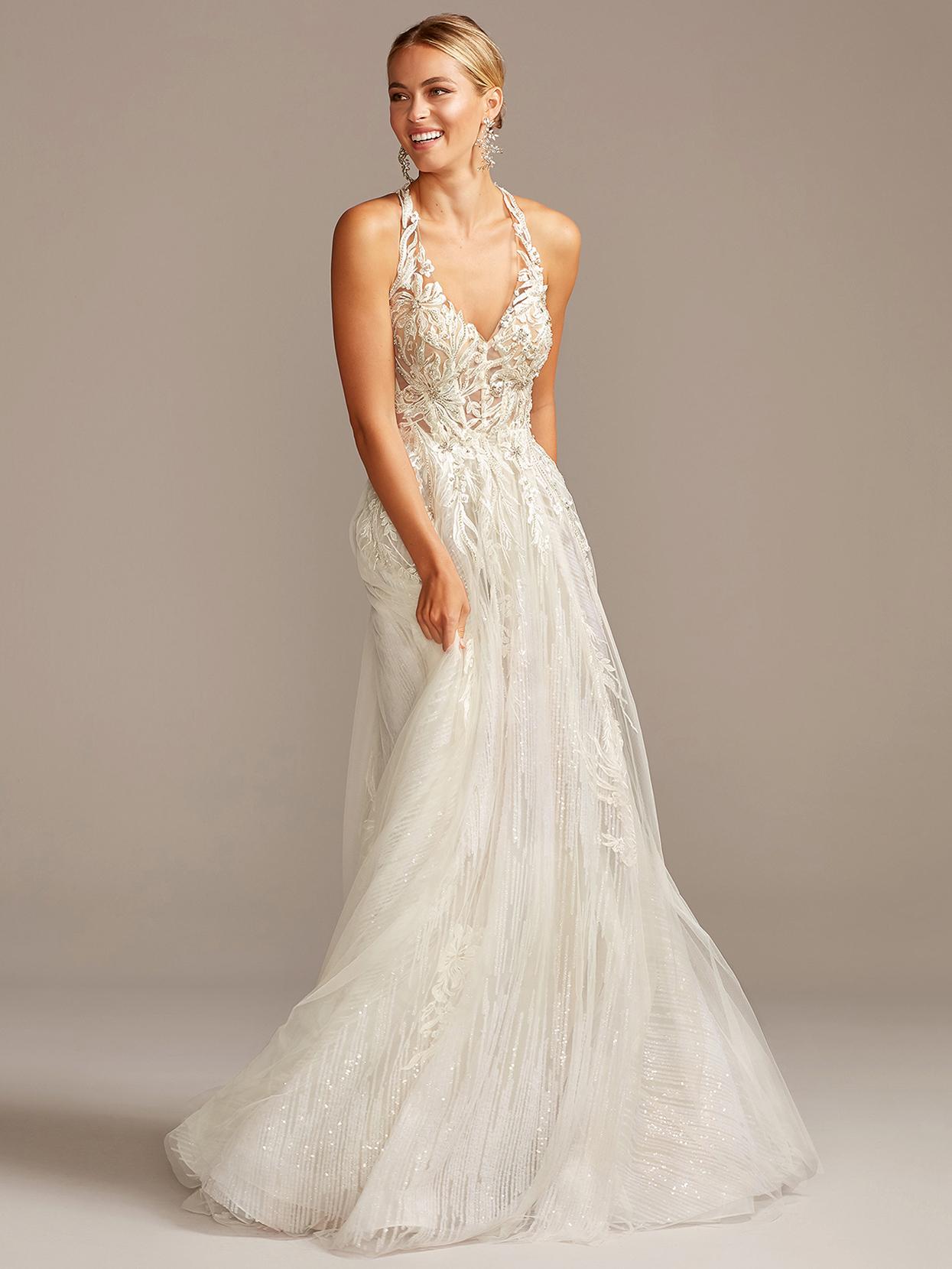 davids bridal galina embroidered a-line v-neck wedding dress fall 2020