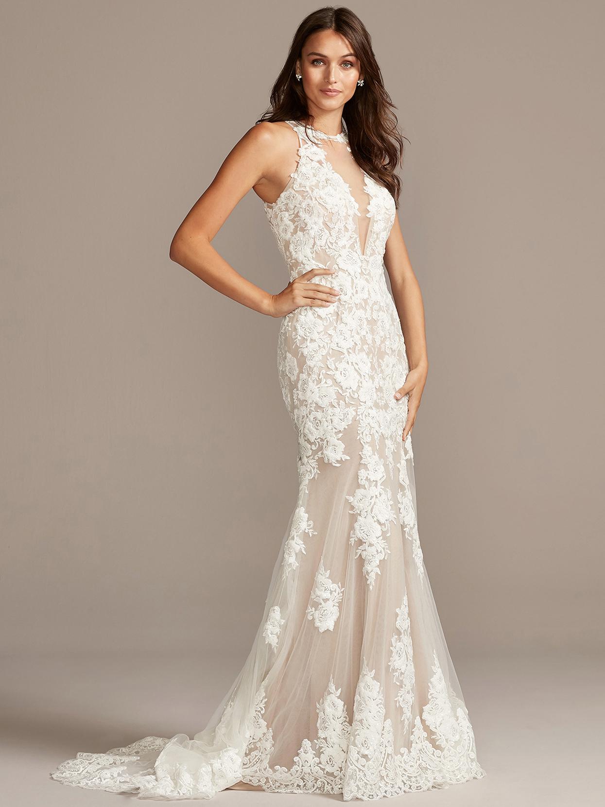 davids bridal galina high illusion-neck lace wedding dress fall 2020