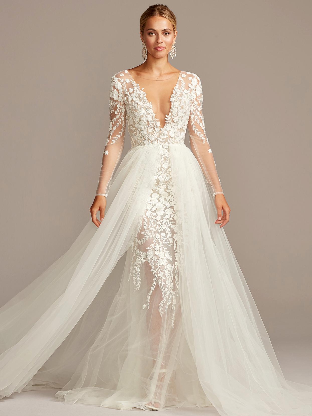davids bridal galina long sheer sleeves overlay wedding dress fall 2020