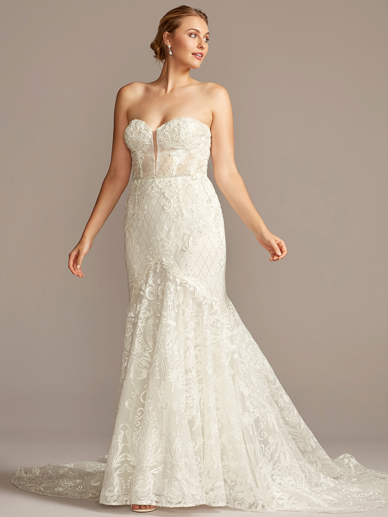 davids bridal galina strapless embroidered trumpet wedding dress fall 2020