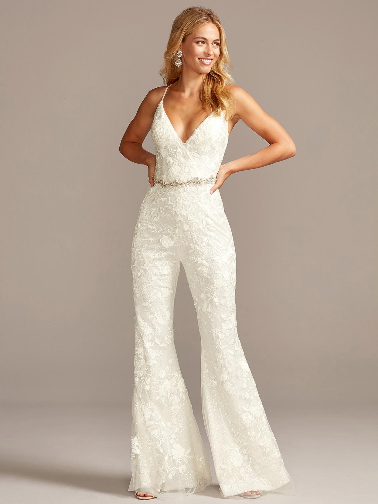 davids bridal galina spaghetti-strap flared jumpsuit wedding dress fall 2020