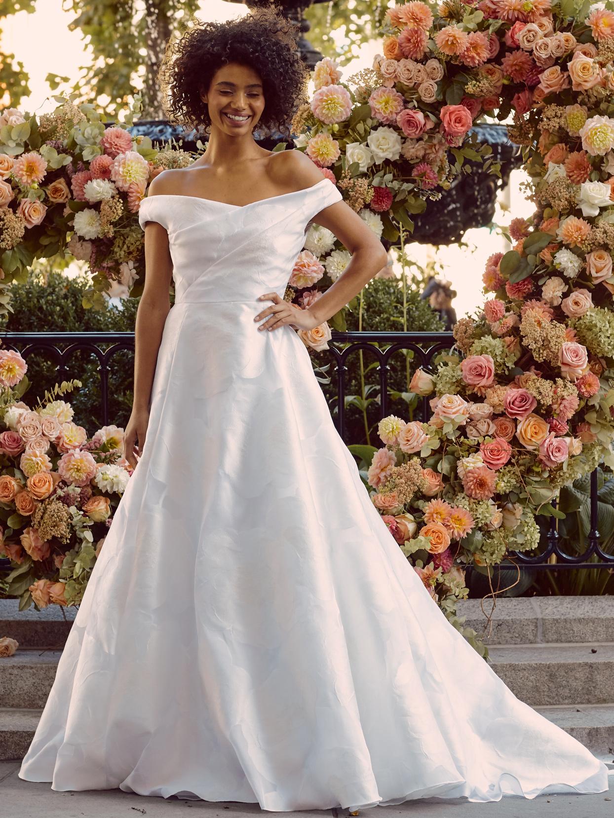 lela rose off-the-shoulder a-line wedding dress fall 2020