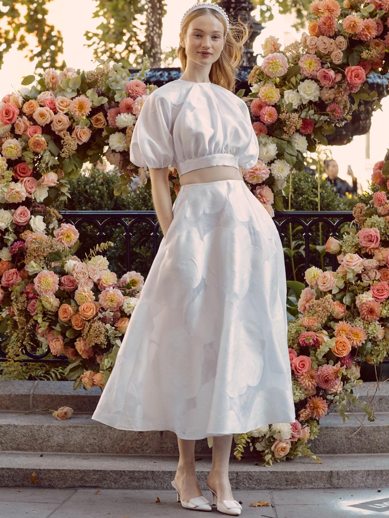 lela rose high neckline short bishop sleeve top and skirt wedding dress fall 2020