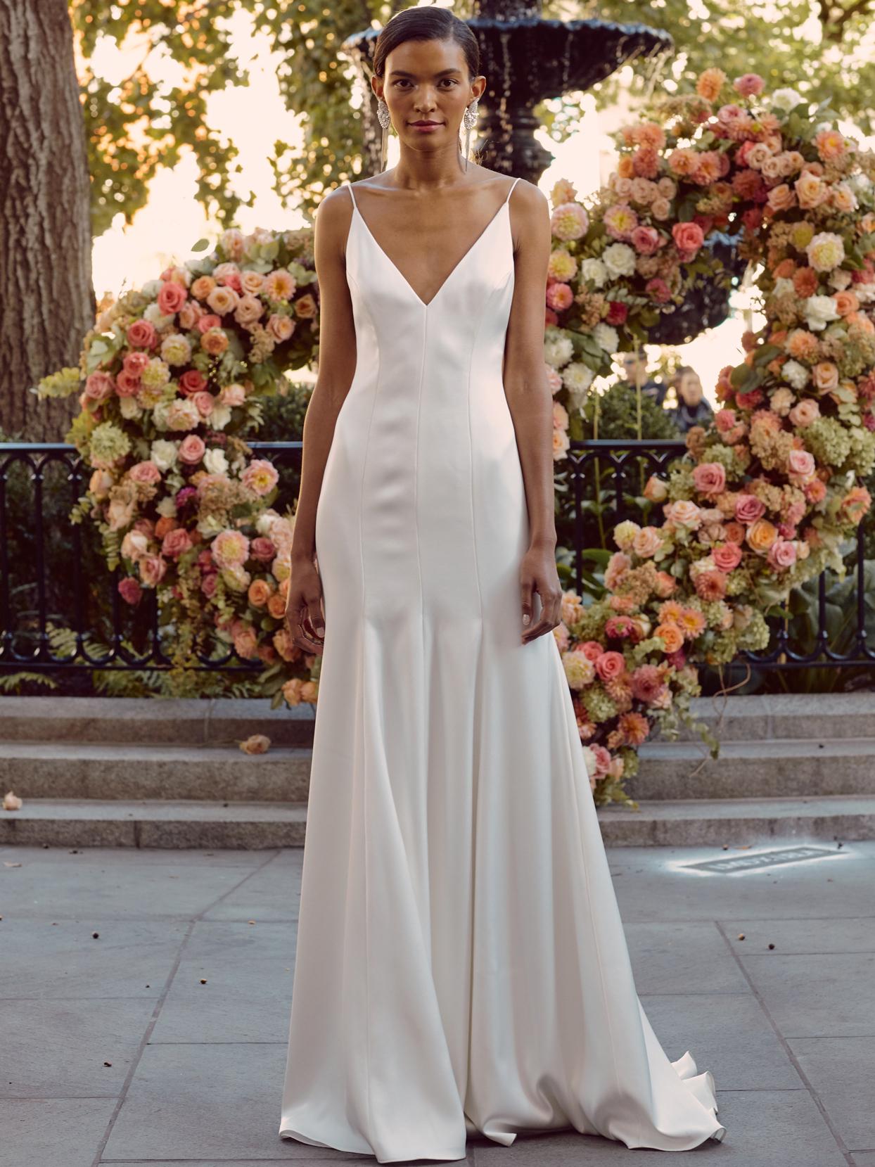 lela rose spaghetti strap v-neck sheath wedding dress fall 2020