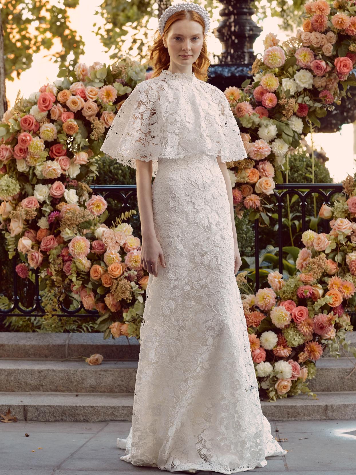 lela rose lace sheath wedding dress with capelet fall 2020