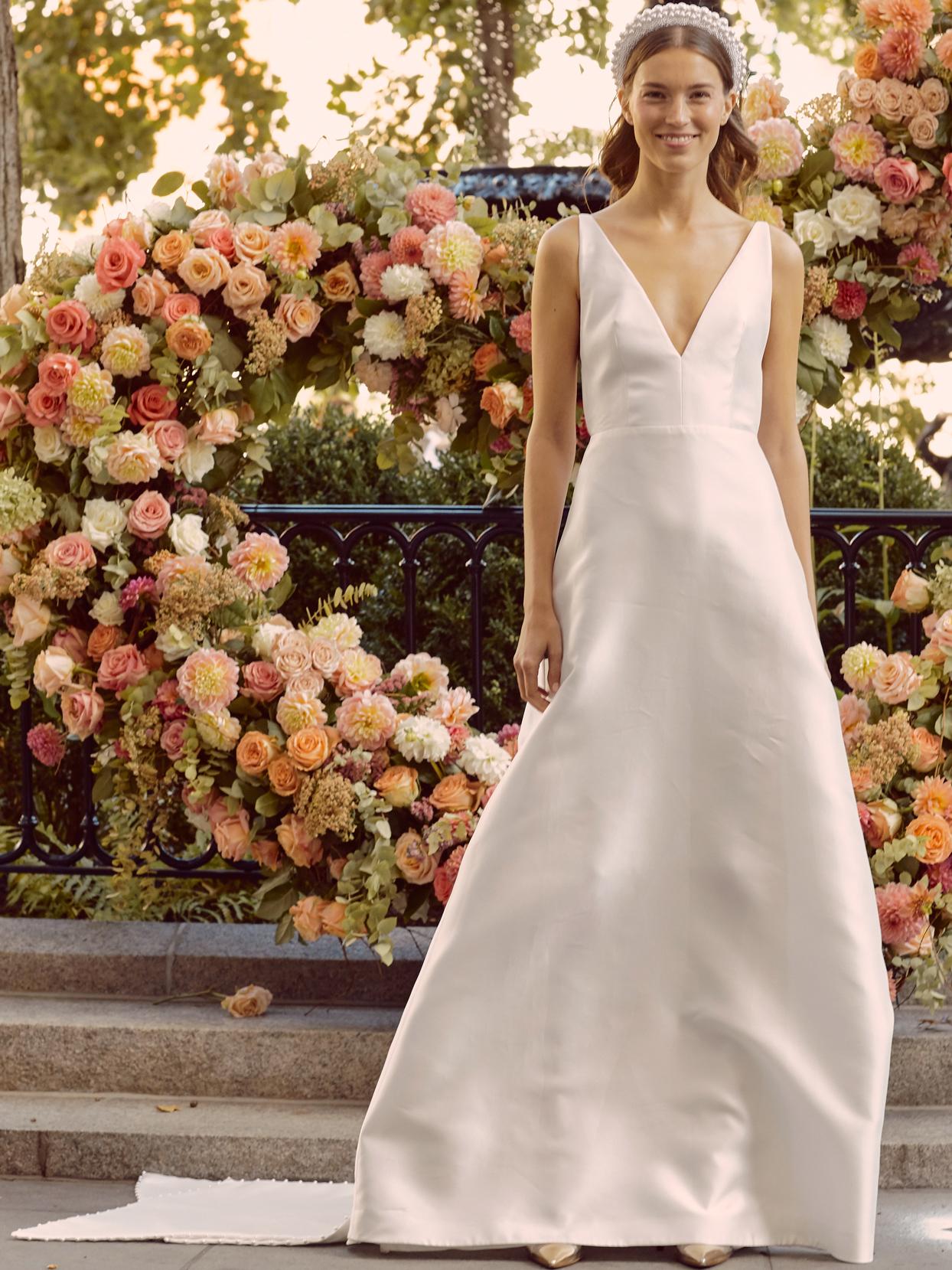 lela rose v-neck a-line wedding dress with beaded train fall 2020