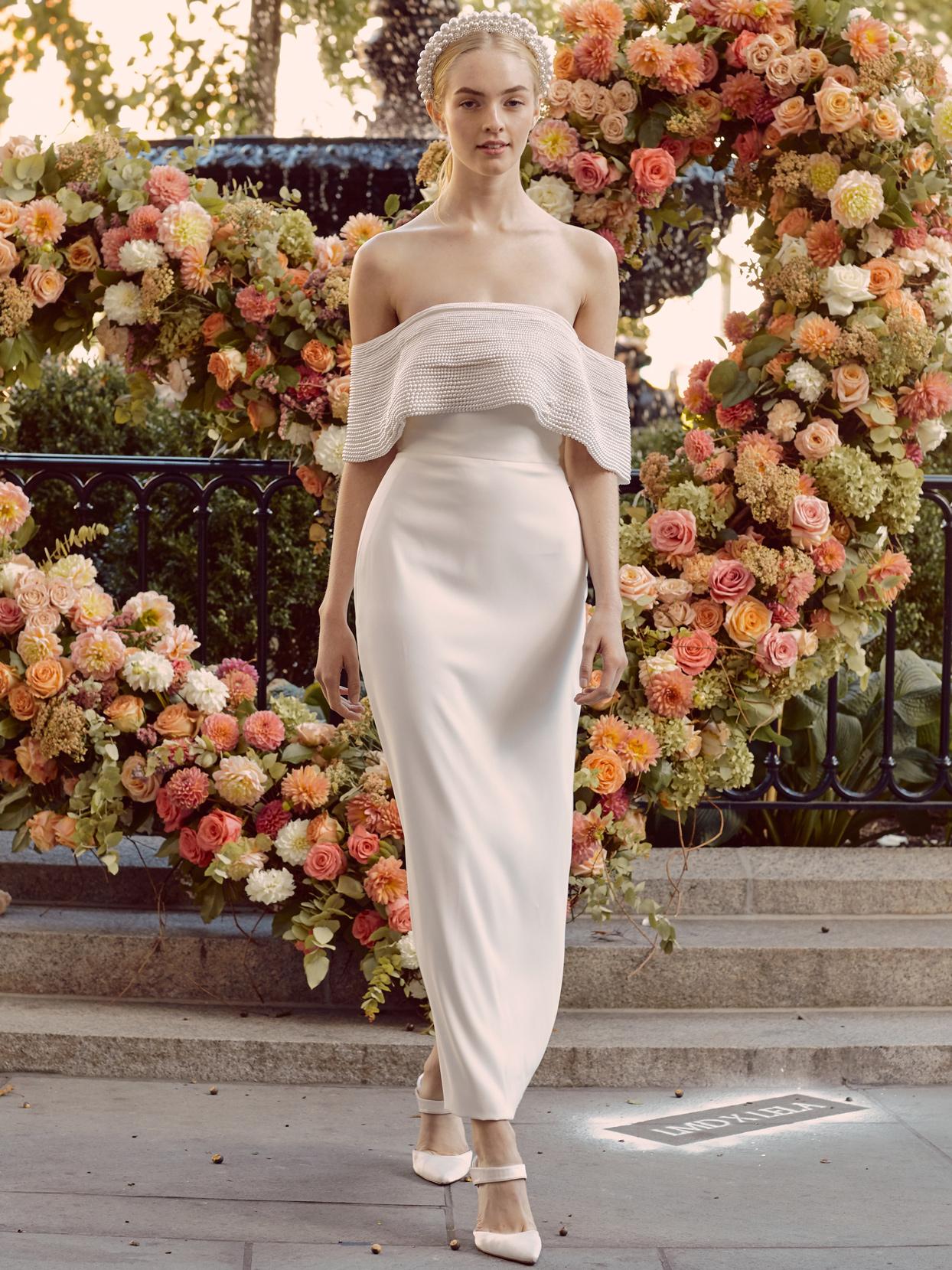 lela rose beaded off-the-shoulder bodice ankle-length sheath wedding dress fall 2020